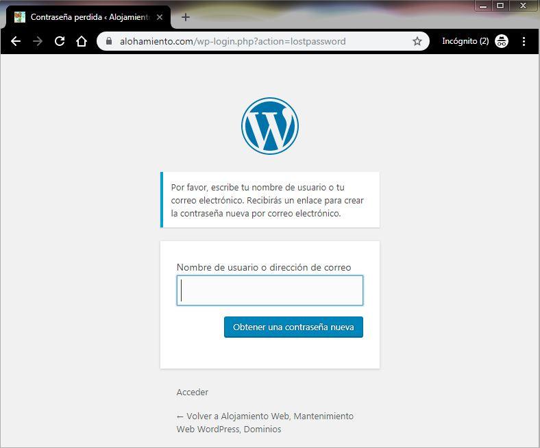 Recuperar contraseña WordPress